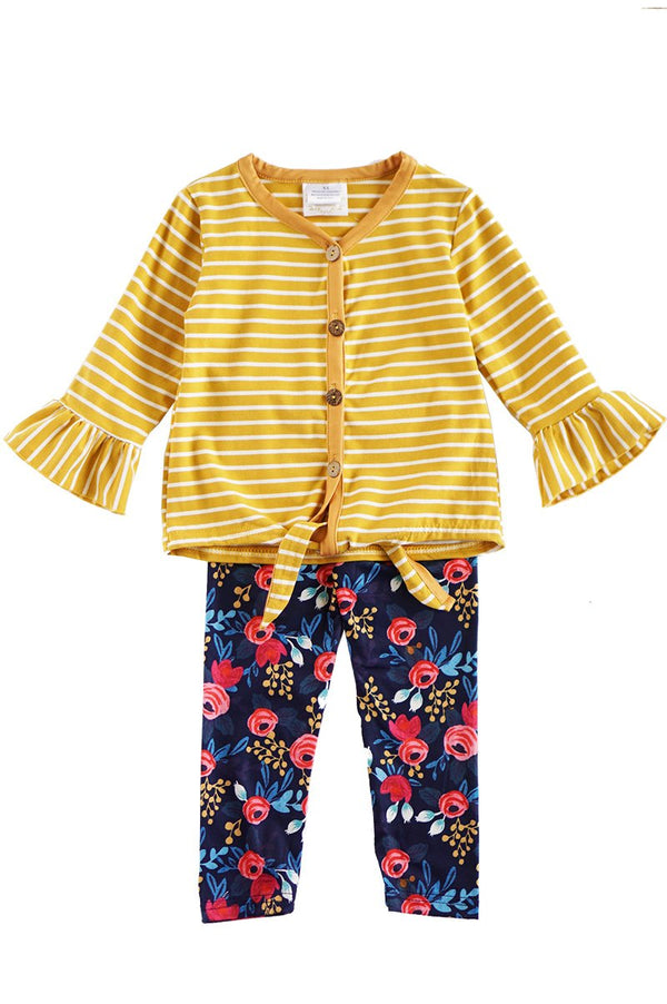 Mustard Stripe Front Tie Shirt with Floral Pants Set
