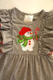 Toddler Girls' Gray Snowman Applique Flutter Sleeve Dress
