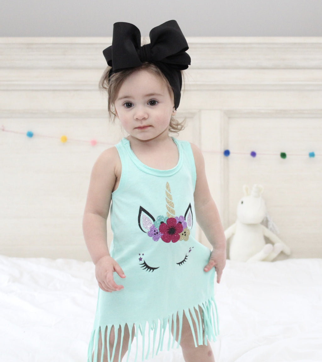 glitter unicorn mint fringe birthday dress, cake smash dress, first birthday outfit