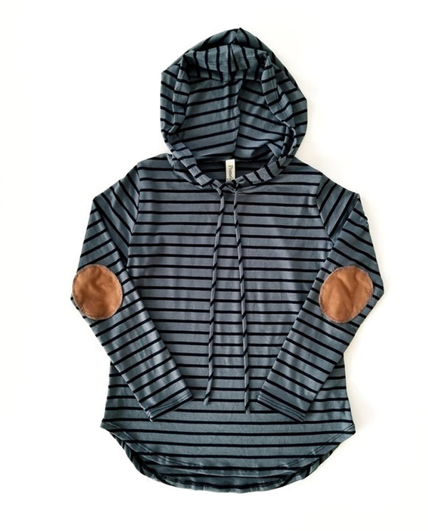 Pomelo Striped Hoodie w/ Suede Elbow Patch-Charcoal/Black