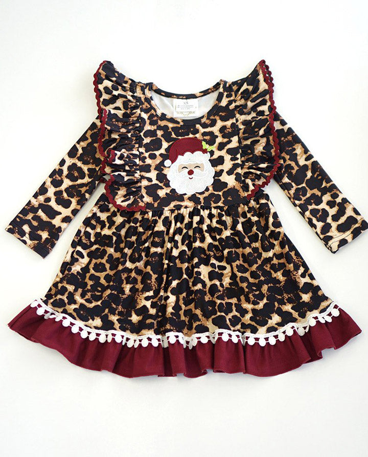 Girls' Maroon and Leopard Ruffle Santa Dress