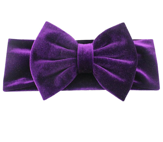 Velvet Bow Headband- Dark Purple