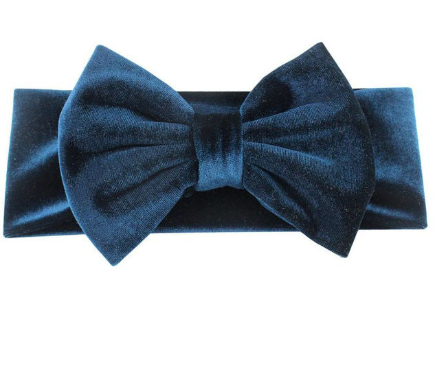 Velvet Bow Headband- Teal
