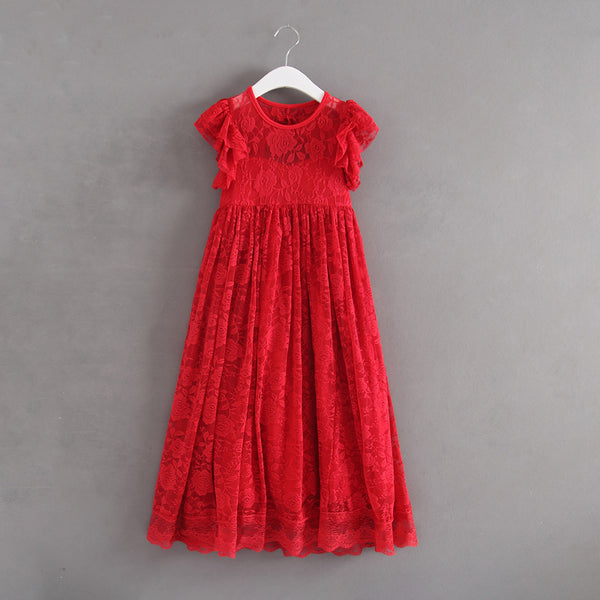 Sophia- Red Floral Lace Floor Length Dress