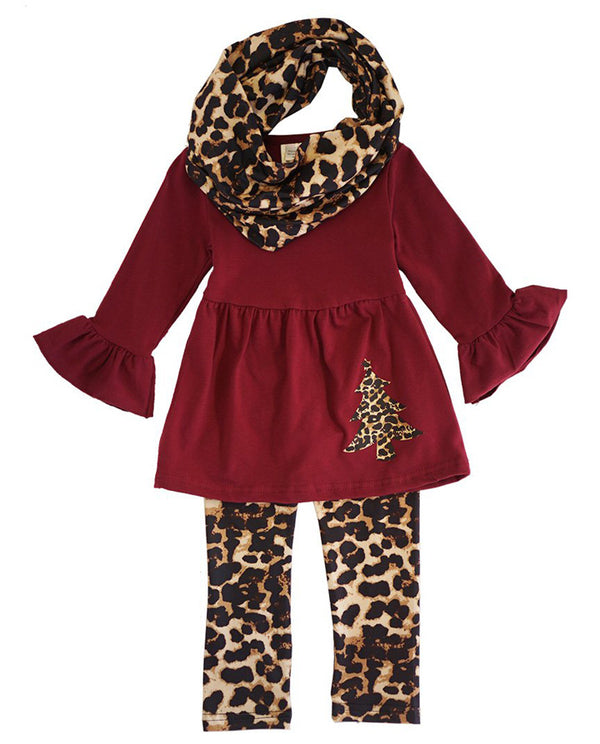 Girls' Leopard Print Christmas Tree 3 Piece Set