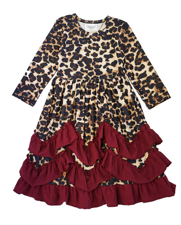 Maroon and Leopard Ruffle Maxi Dress