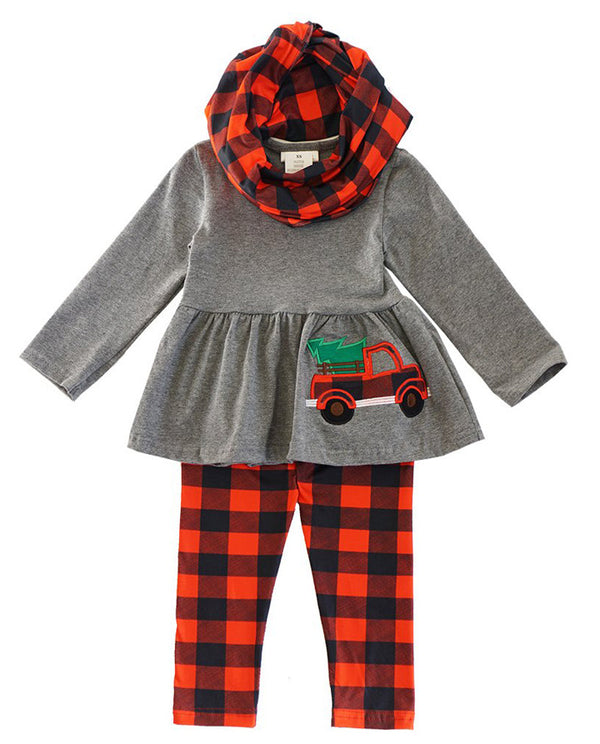 Girls' Christmas Plaid Truck Scarf Set