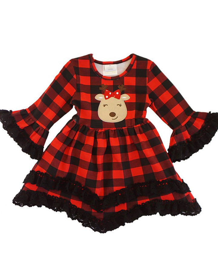 Girls' Red Buffalo Plaid Reindeer Lace Ruffle Dress