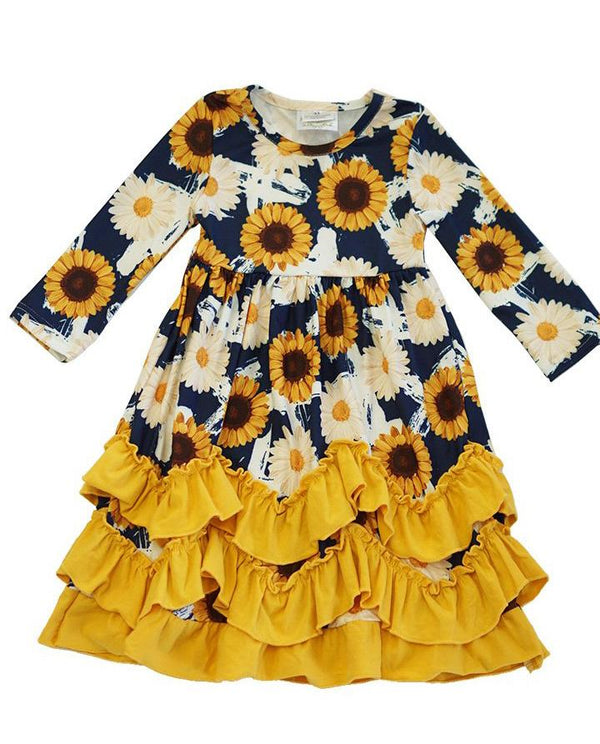 Girls' Sunflower Layered Ruffle Maxi Dress