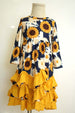 Girls' Sunflower Yellow Layered Ruffle Maxi Dress