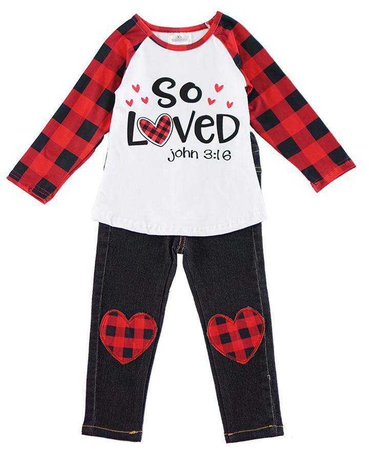 Girls' So Loved Plaid Heart Patch Valentine Outfit