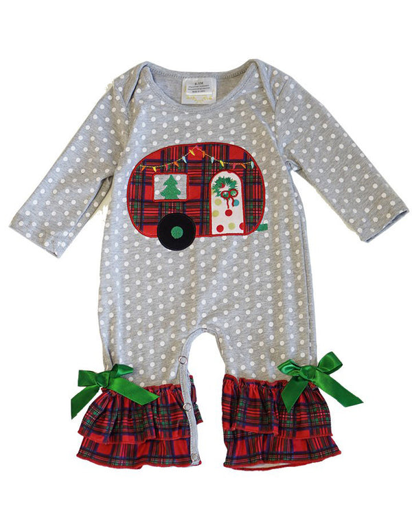 Infant Girls' Gray Polka Dot and Plaid Camper Romper
