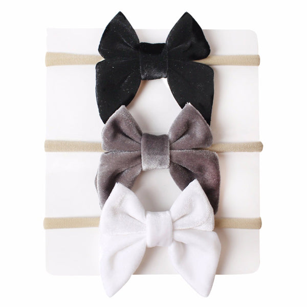 Girls Velvet Bow 3 Piece Set-Black, White, Gray