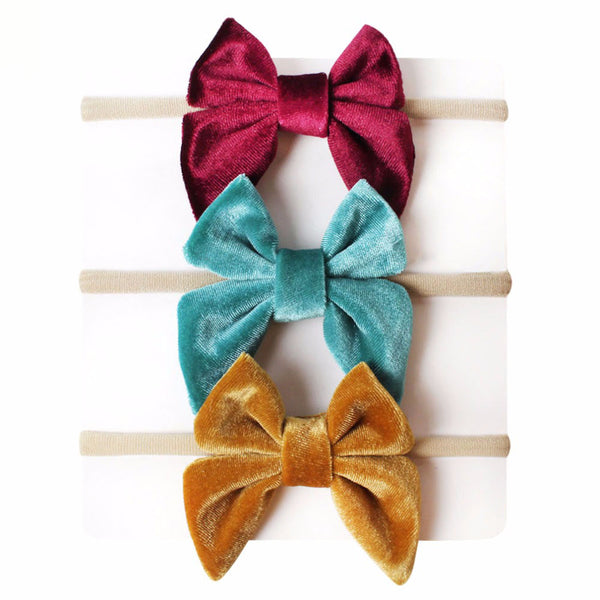 Girls Velvet Bow 3 Piece Set-Wine, Aqua, Gold