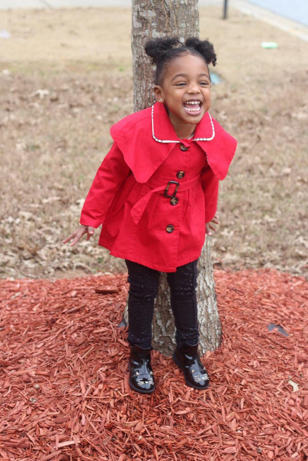 Toddler Girls Red and Beige Plaid  Belted Trench Coat