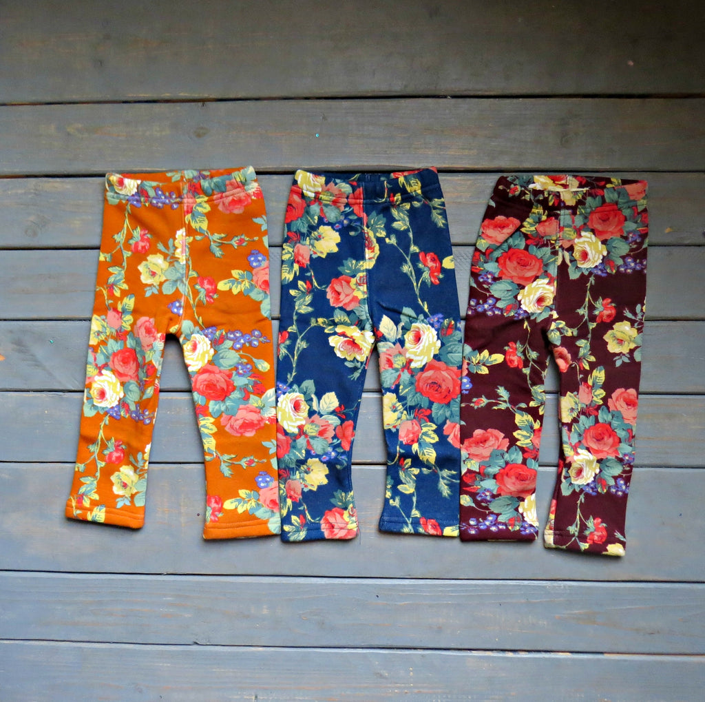 girls' fall floral leggings