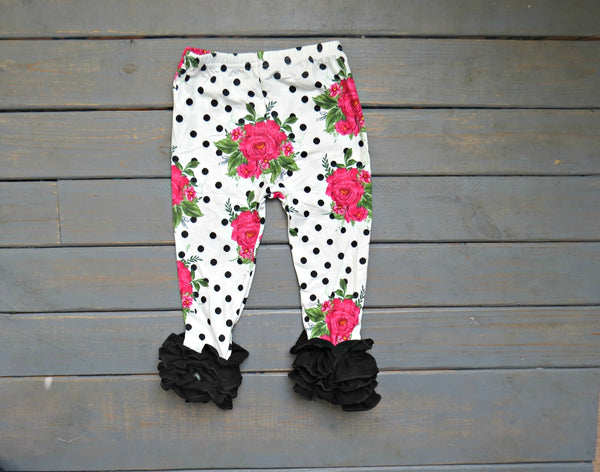 Girls' Polka dot rose ruffle leggings