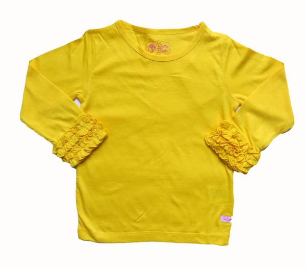 Rufflebutts Yellow Long Sleeve Ruffle Layering Tee