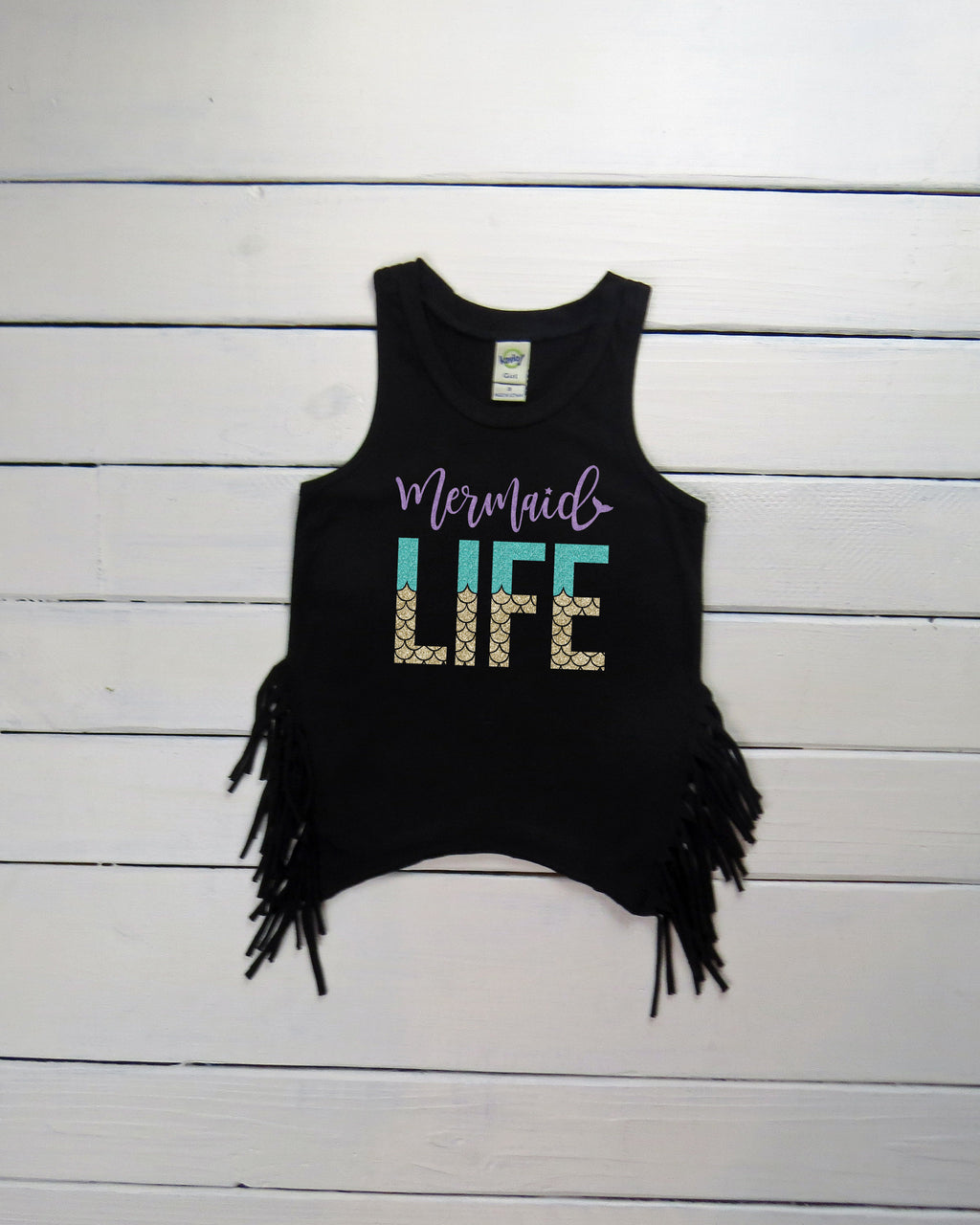 Mermaid Life Black Fringe Tank Mermaid Birthday Shirt
