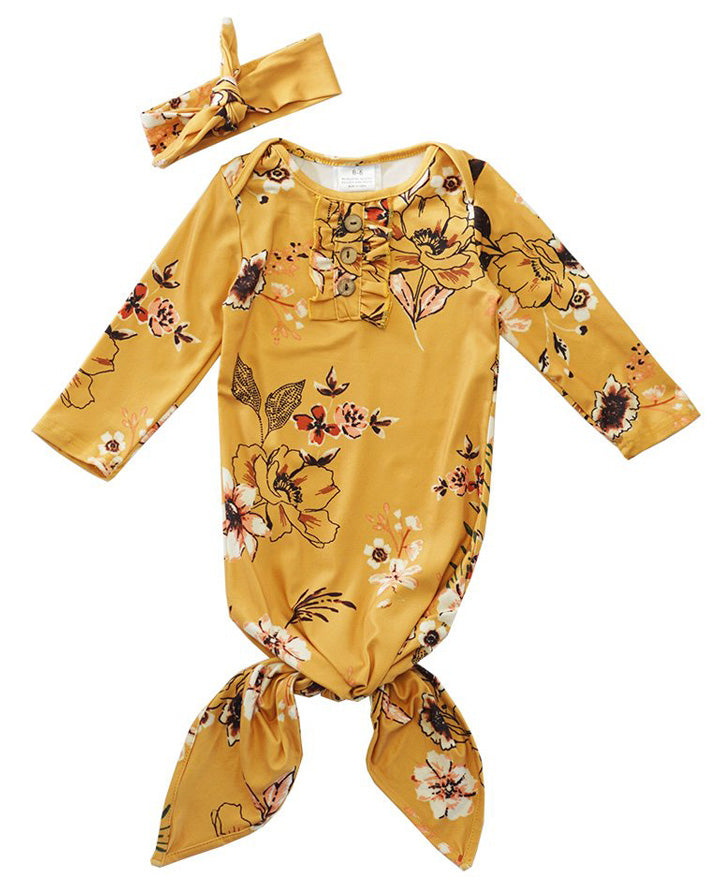 Infant Girls' Mustard Floral Tie Gown with Matching Headband