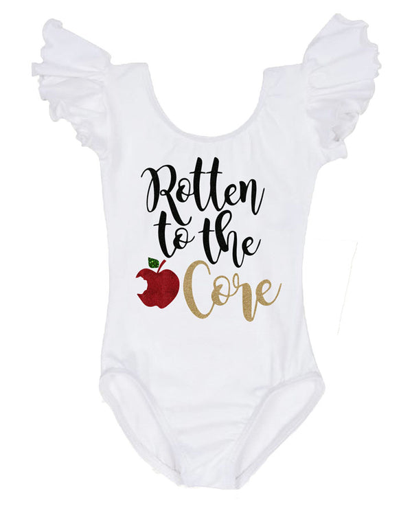 rotten to the core leotard, snow white birthday outfit, birthday girl leotard, infant leotard