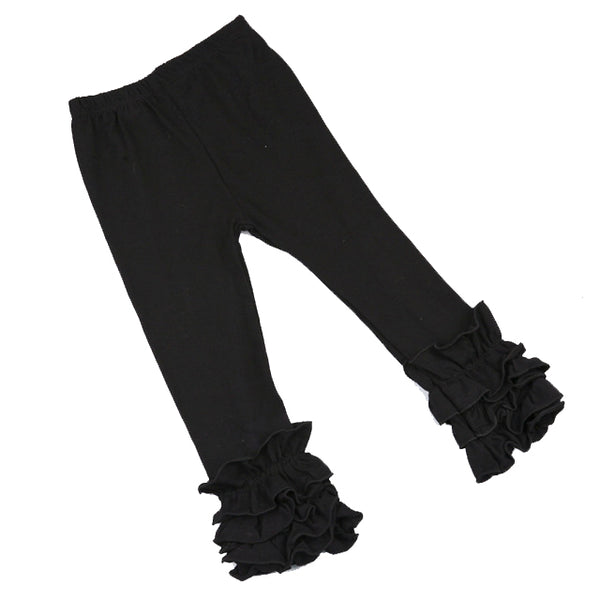 Midnight Black Ruffle Leggings