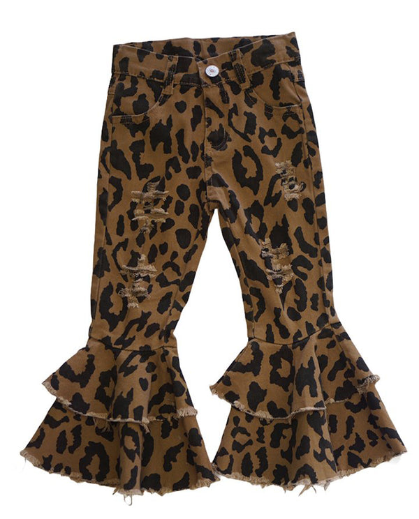 Leopared Print Denim Bell Bottoms