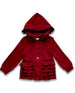 Infant and Toddler Girls' Maroon Solid Ruffle Jacket