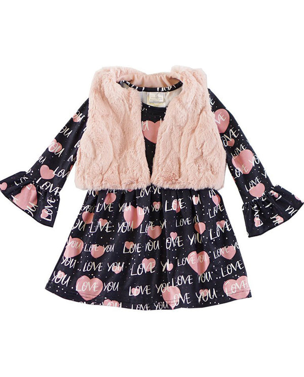Girls' Pink and Navy Heart Dress with Fur Vest