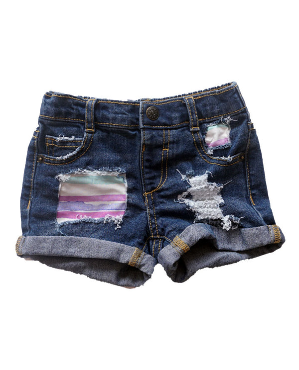 toddler girls rainbow distressed denim shorts