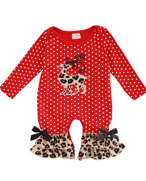 Infant Girls' Red Polka Dot Leopard Ruffle Reindeer Romper