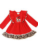Toddler Girls' Red leopard reindeer Christmas dress