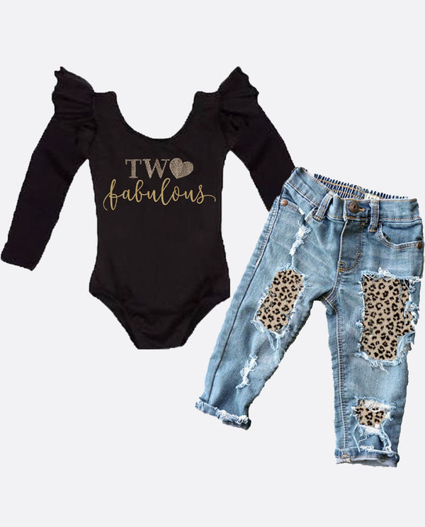 Girls Second Birthday Two Fabulous Two Wild Leopard Distressed Denim Outfit