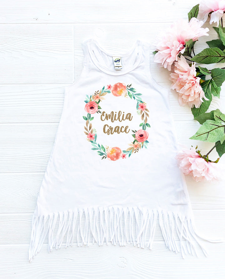 Personalized Boho Floral Wreath Birthday Fringe Dress