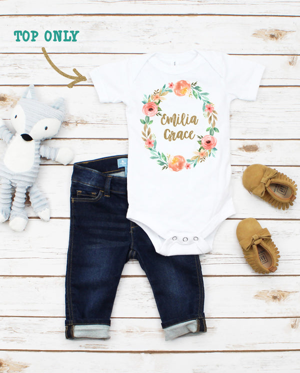 Personalized Boho Floral Bodysuit