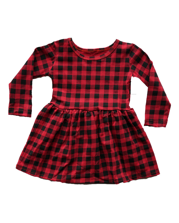 Girls' Red and Black Buffalo Plaid Christmas Dress