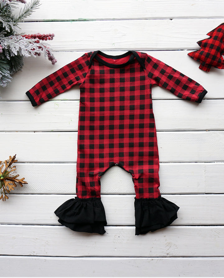 Infant Girls' Ruffle Romper- Buffalo Plaid