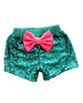 mermaid green and pink sequin shorts, luau birthday outfit