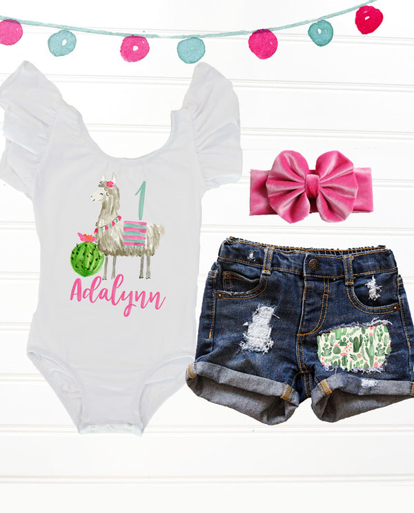 Girls' Floral Llama Birthday Outfit