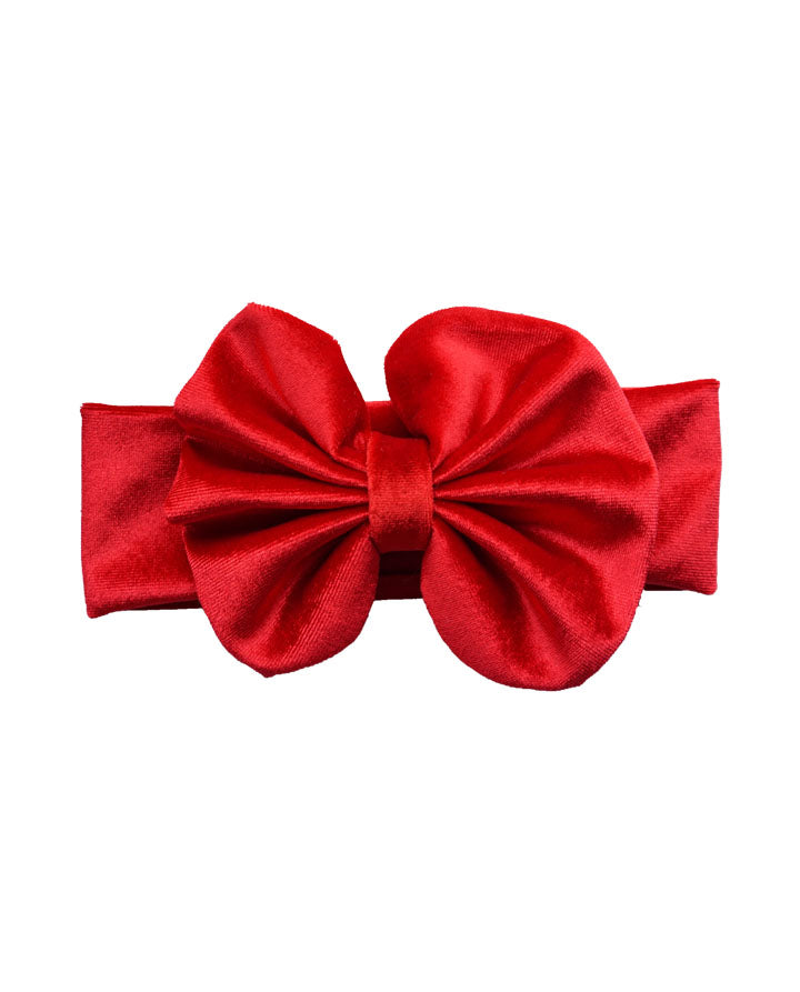 Girls Velvet Messy Bow Headband- Red
