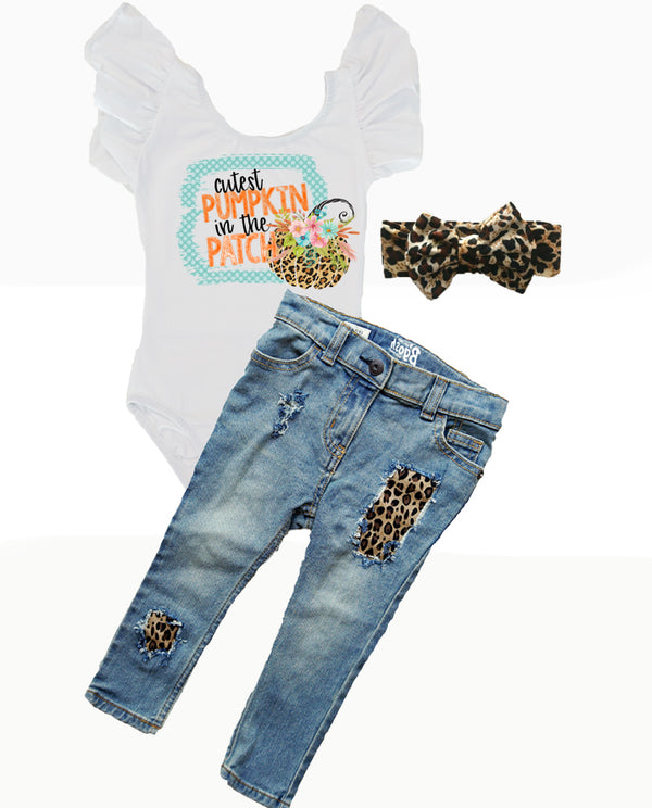 Baby Girls Cutest Pumpkin in the Patch Leopard Distressed Denim Outfit