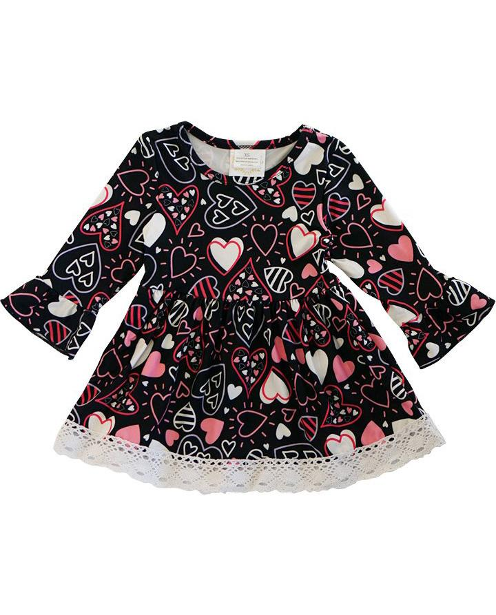 Girls' Black Heart Lace Trim Dress