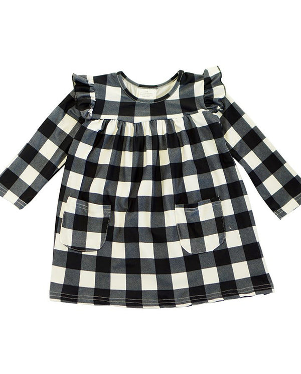Toddler Girls' Black and White Buffalo Check Dress