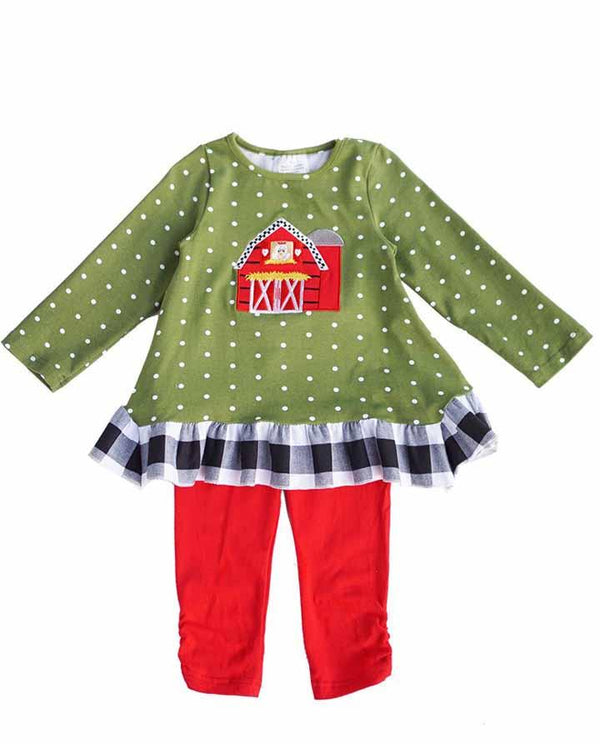 Toddler Girls' Olive and Red Farmhouse Tunic and Pant Set
