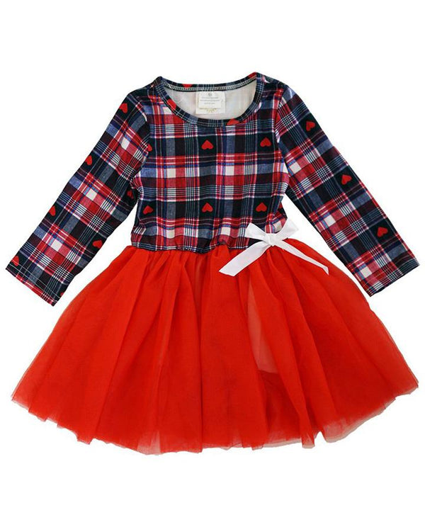 Girls' Red Plaid Valentine Tutu Dress