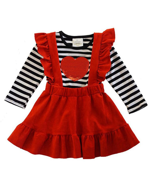 Girls' Stripe Reversible Sequin Heart Suspender Skirt Set