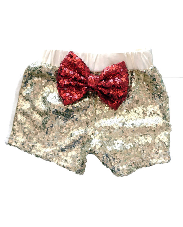 Gold and Red Sequin Shorts