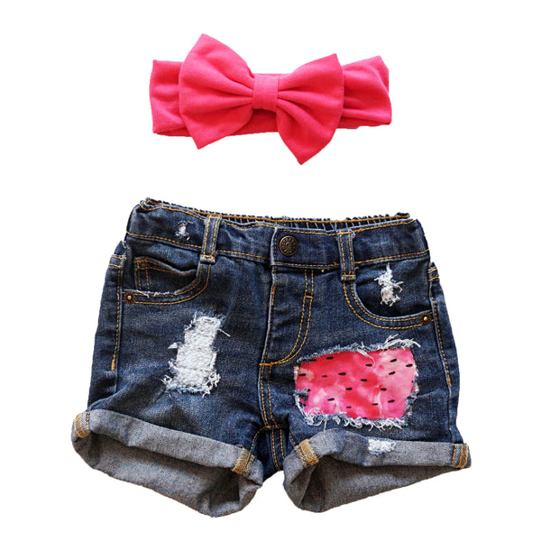 Girls watermelon distressed denim shorts, infant girls jean shorts, infant girls watermelon outfit