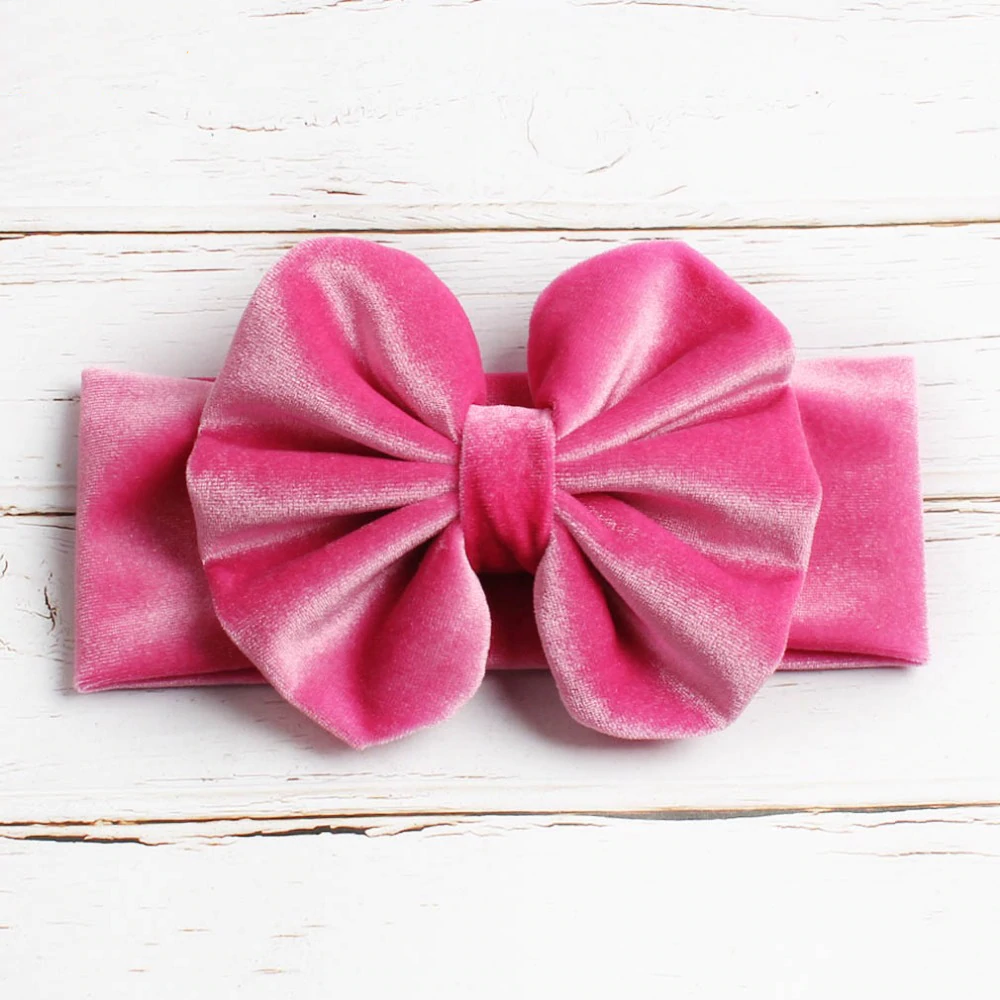 Girls Velvet Messy Bow Headband- Pink