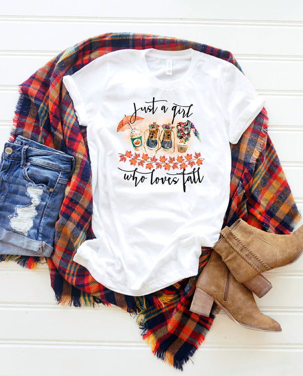 Womens Just a girl who loves fall pumpkin spice shirt